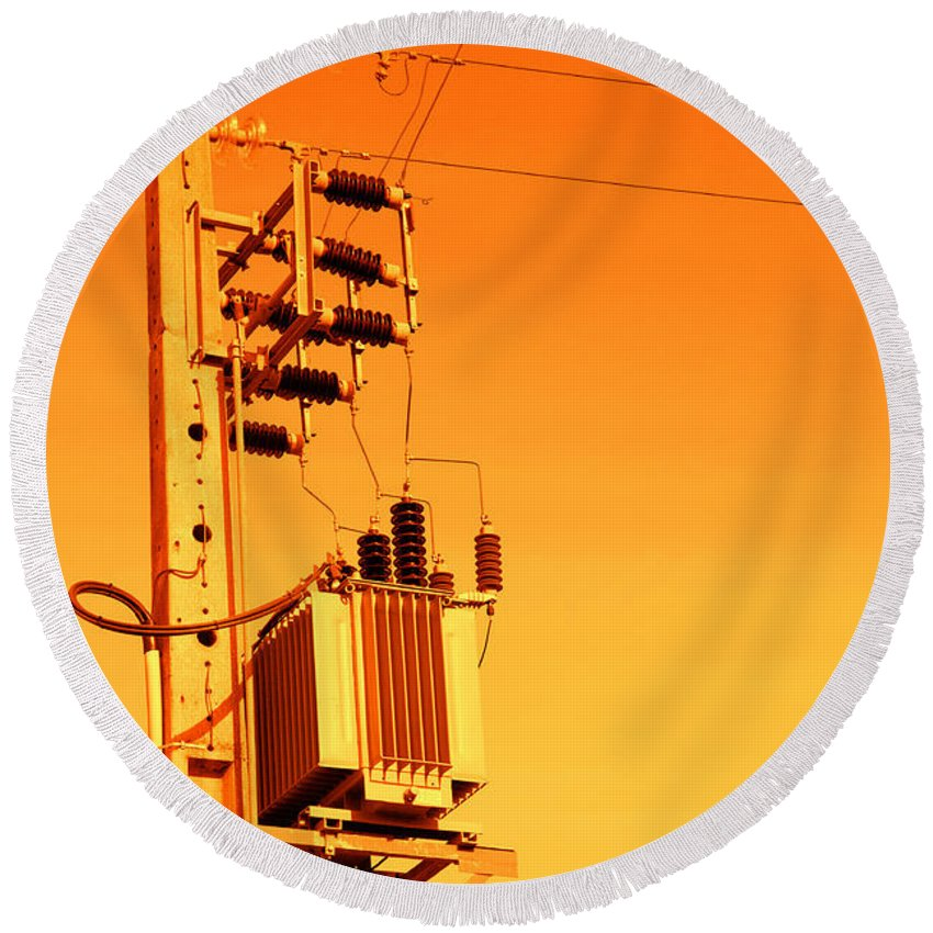 Energy Round Beach Towel featuring the photograph Electricity by Gaspar Avila