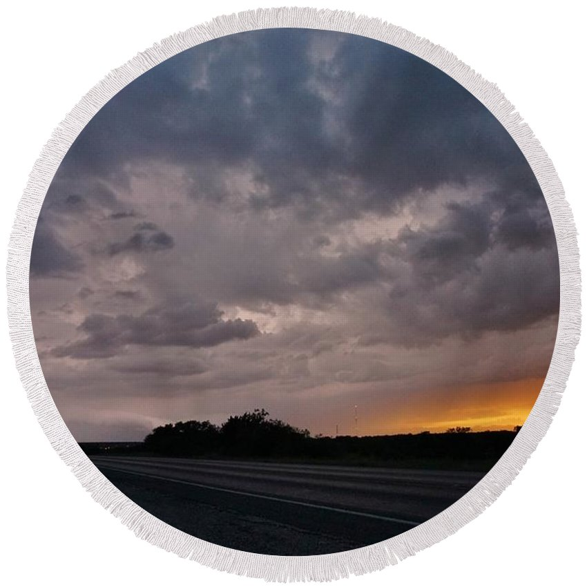 Storm Round Beach Towel featuring the photograph Electrified Skies by Ed Sweeney
