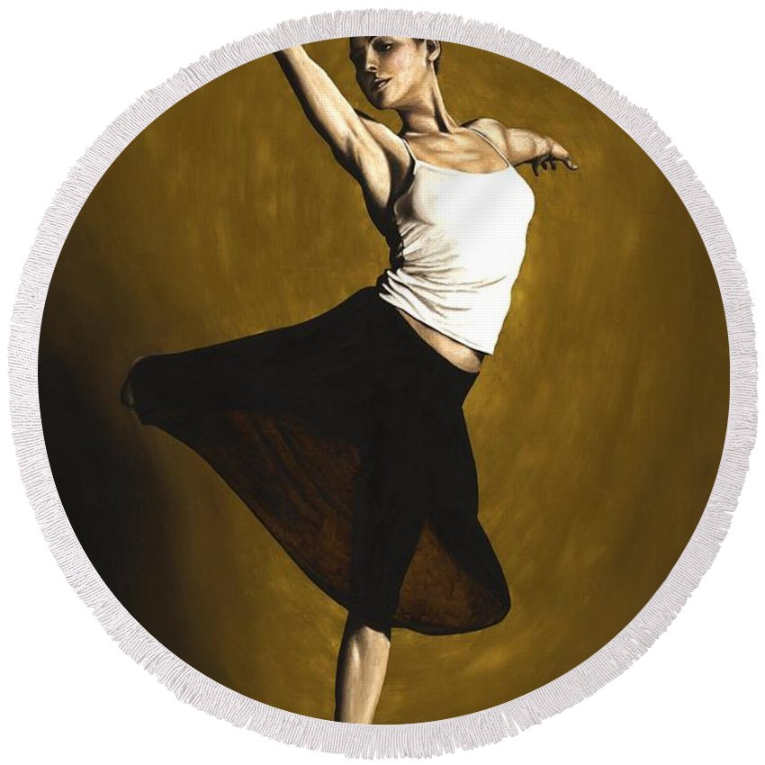Elegant Round Beach Towel featuring the painting Elegant Dancer by Richard Young