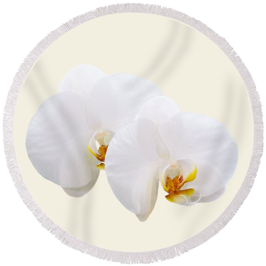 Orchid Round Beach Towel featuring the photograph Elegant Orchids by Mitch Spence