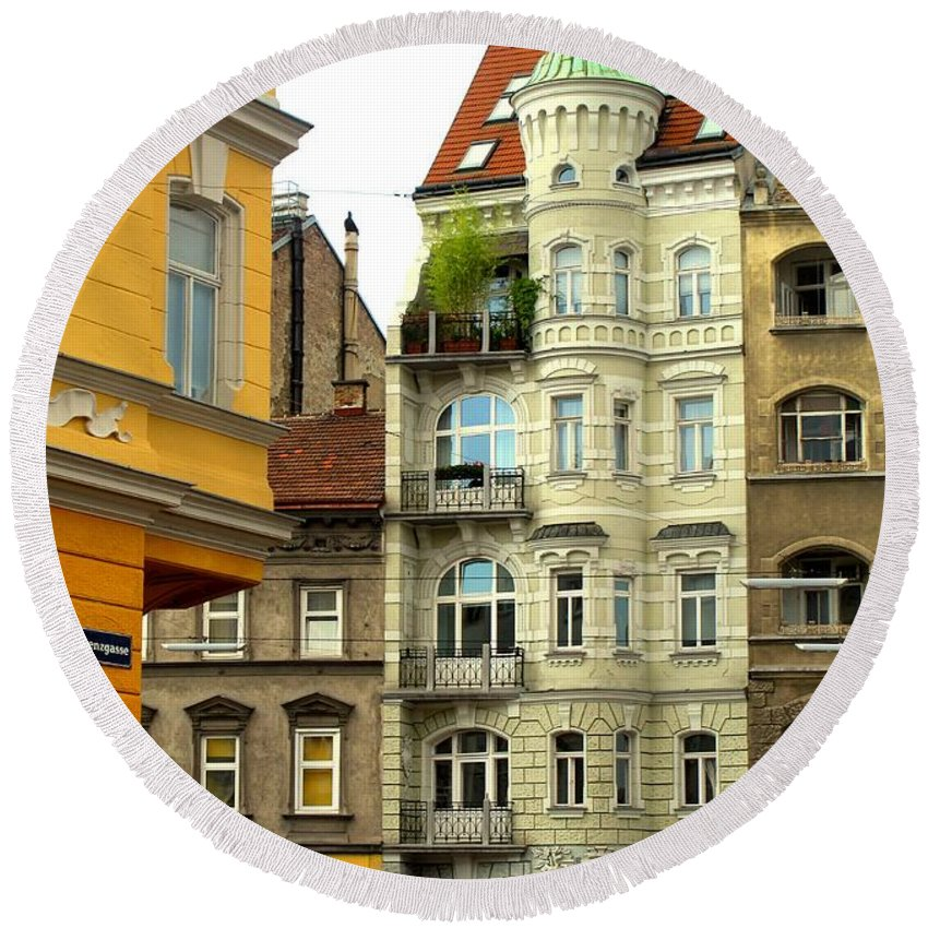 Vienna Round Beach Towel featuring the photograph Elegant Vienna Apartment Building by Ian MacDonald