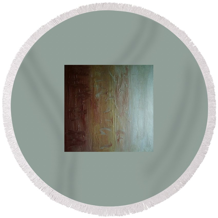 Copper Round Beach Towel featuring the painting Element Of Metal by Toresa Looui