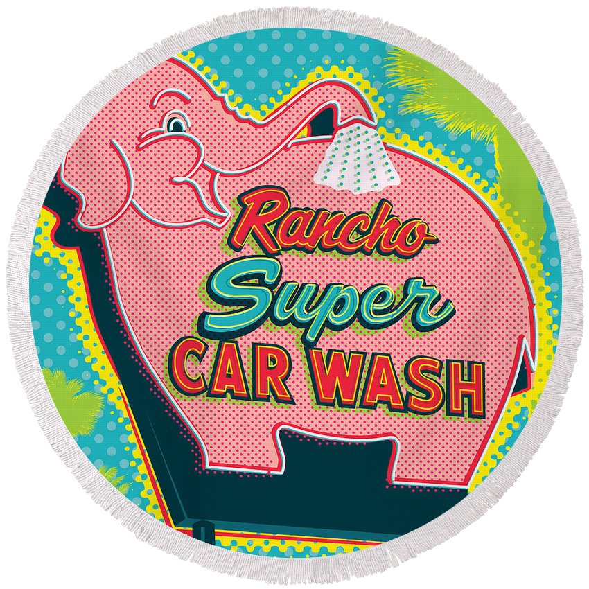 Pop Art Round Beach Towel featuring the digital art Elephant Car Wash - Rancho Mirage - Palm Springs by Jim Zahniser