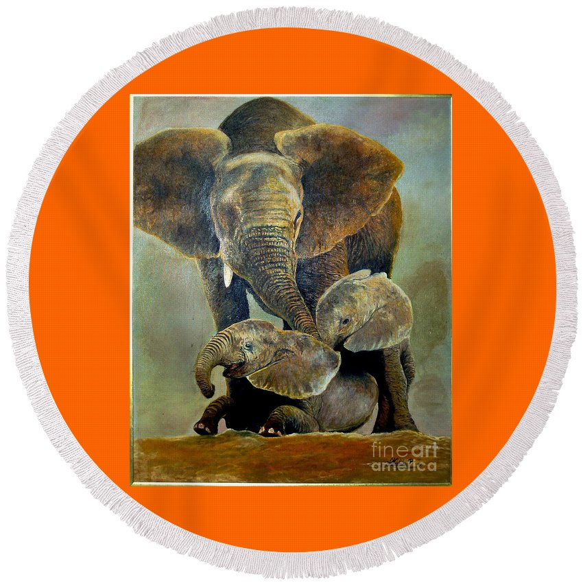 Africa Round Beach Towel featuring the painting Elephant Familly by Peter Kulik