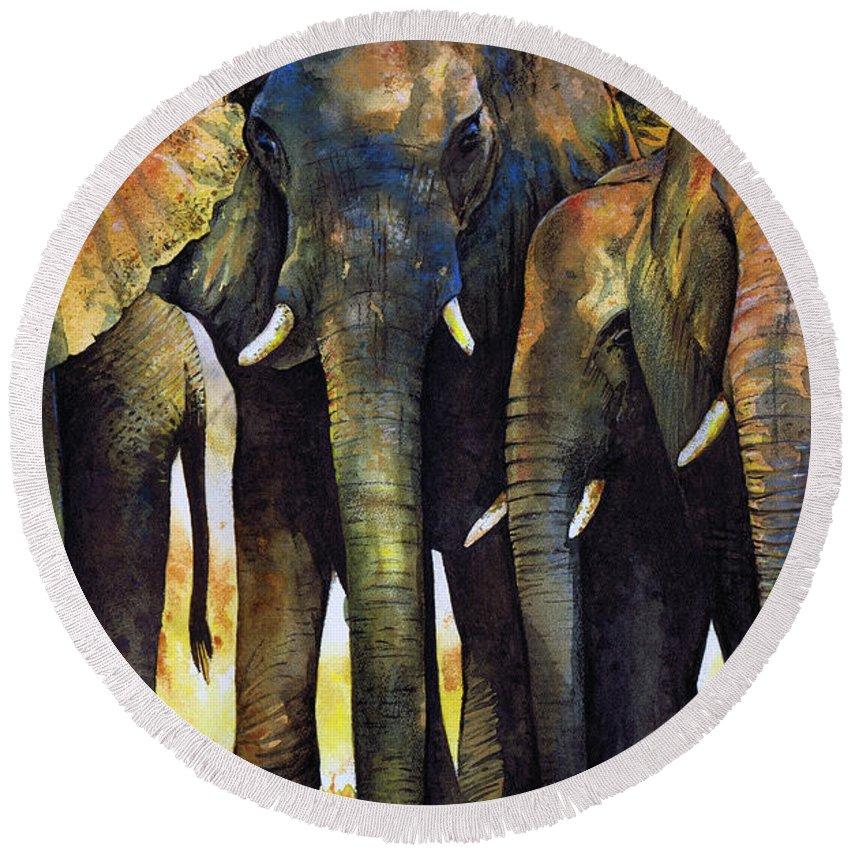 Elephant Round Beach Towel featuring the painting Elephant Herd by Paul Dene Marlor