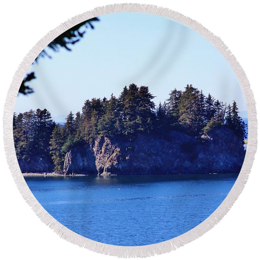 Elephant Island Kachemak Bay Round Beach Towel featuring the photograph Elephant Island Kachemak Bay by Lori Mahaffey