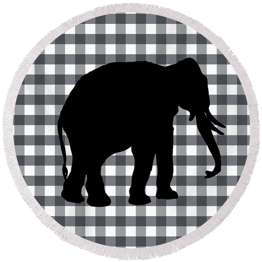 Elephant Round Beach Towel featuring the digital art Elephant Silhouette by Linda Woods
