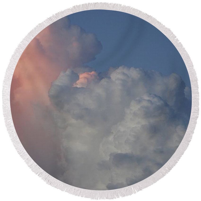 Clouds Round Beach Towel featuring the photograph Elephant Sky by Rob Hans