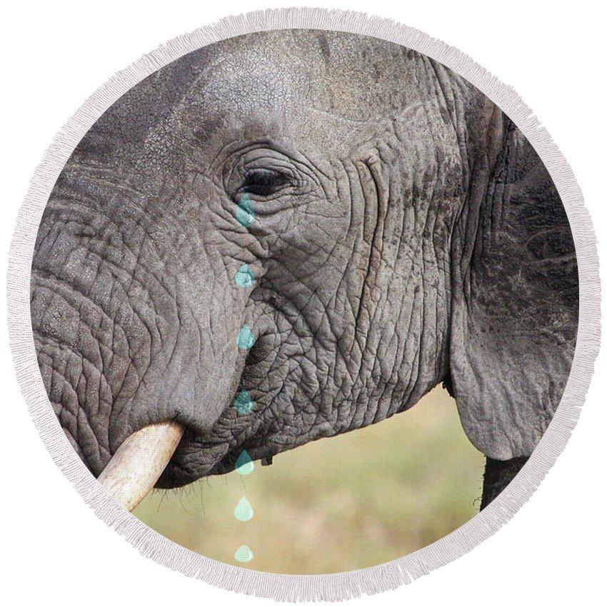 Elephant Round Beach Towel featuring the photograph Elephant Tears by Gill Billington