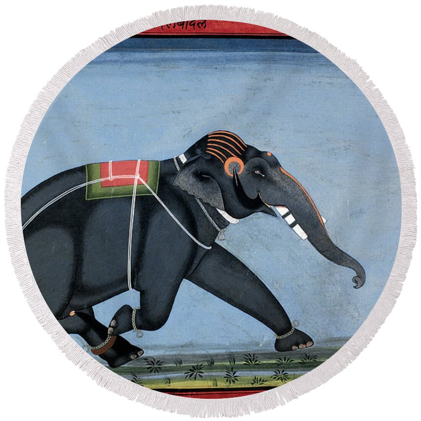 1750 Round Beach Towel featuring the photograph Elephant & Trainer, C1750 by Granger