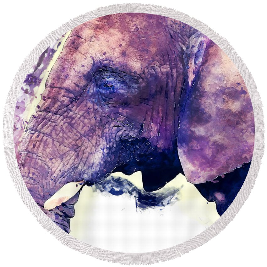Elephant Round Beach Towel featuring the painting Elephant Watercolor Painting by Justyna JBJart