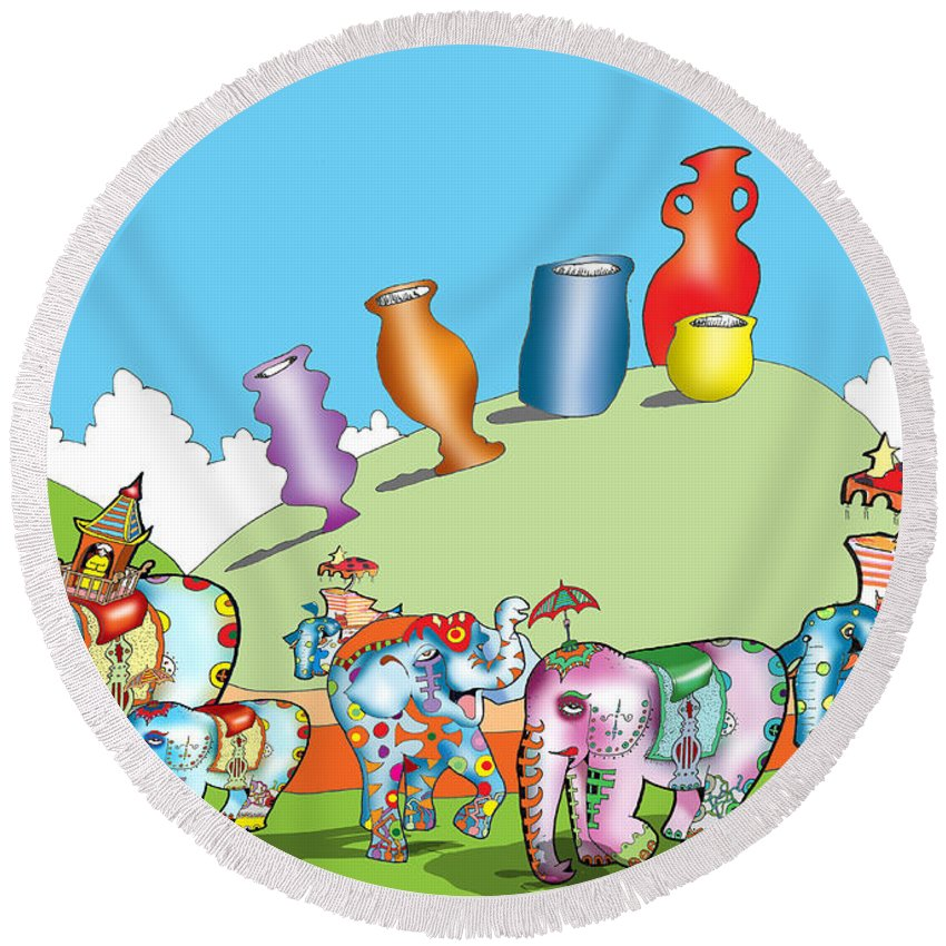 Elephants Round Beach Towel featuring the digital art Elephants And Urns On A Hill by Gala Hutton