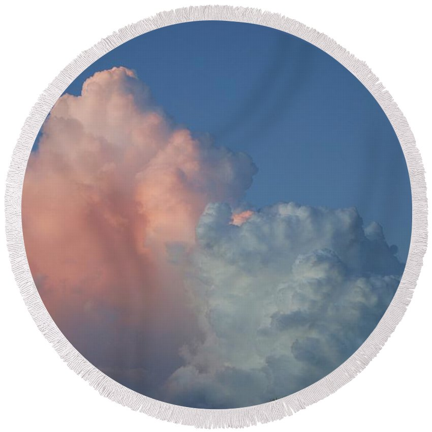 Clouds Round Beach Towel featuring the photograph Elephants Clouds by Rob Hans