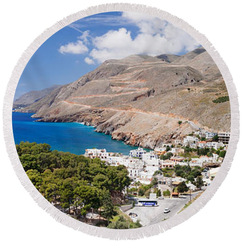 Photography Round Beach Towel featuring the photograph Elevated View Of The Hora Sfakion by Panoramic Images