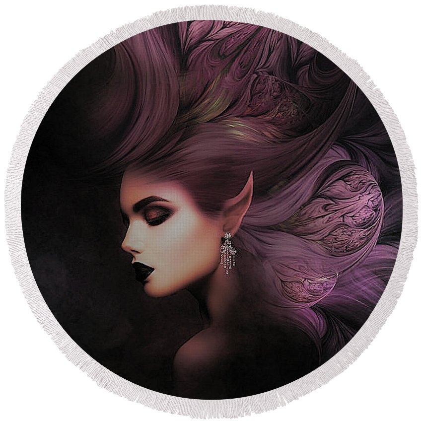 Purple Round Beach Towel featuring the mixed media Elf Mystical Beauty 02 by G Berry