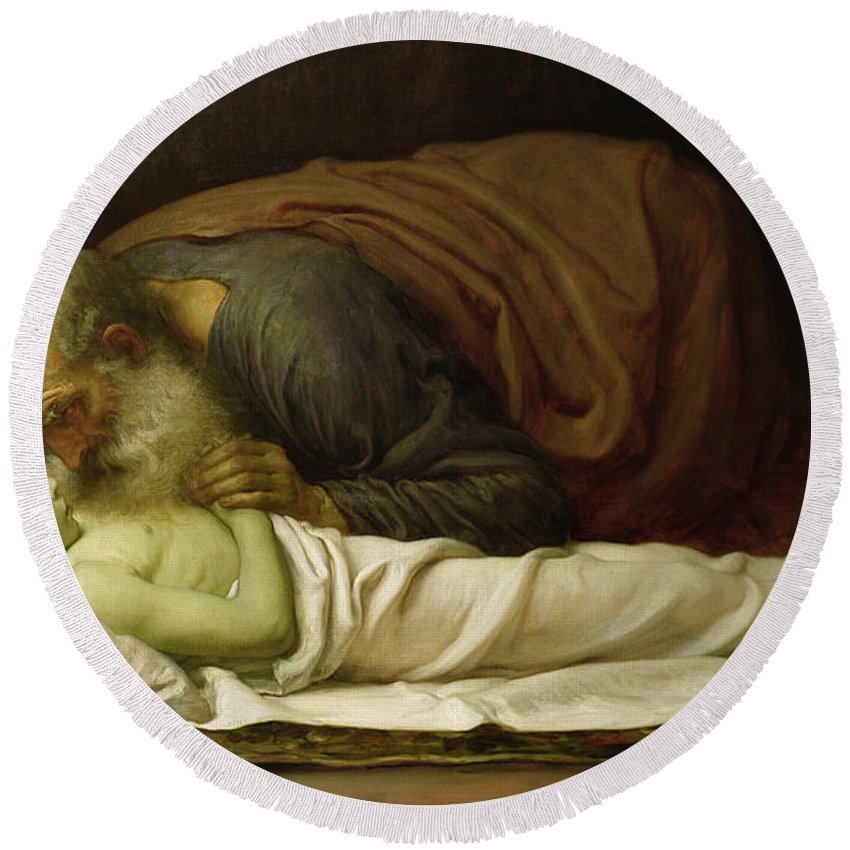 Elisha Round Beach Towel featuring the painting Elisha Raising The Son Of The Shunamite by Frederic Leighton