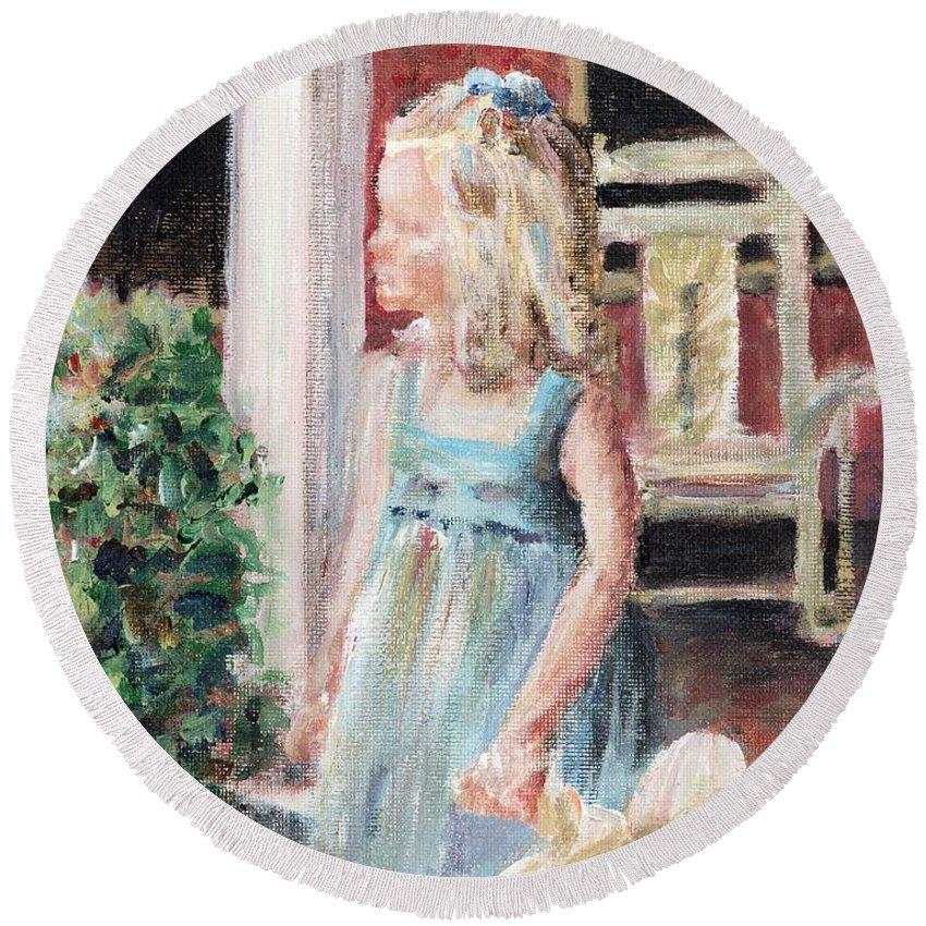 Girl Round Beach Towel featuring the painting Elizabeth Anne by Nadine Rippelmeyer