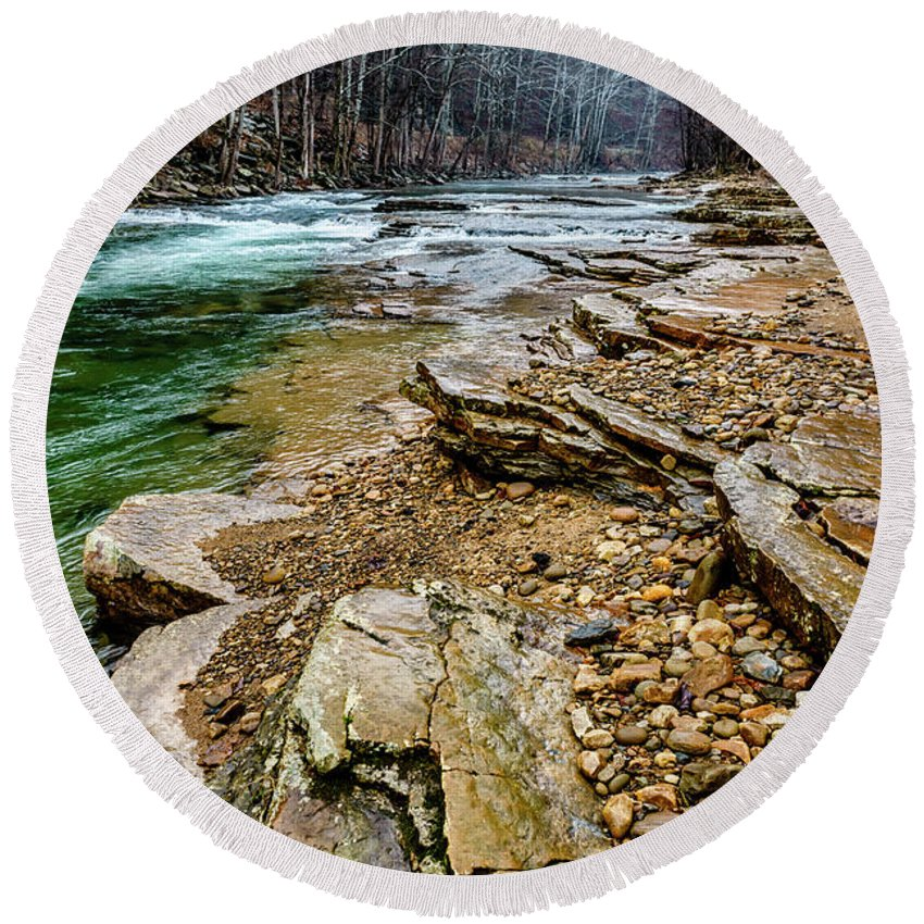 Cherry Falls Round Beach Towel featuring the photograph Elk River In The Rain by Thomas R Fletcher