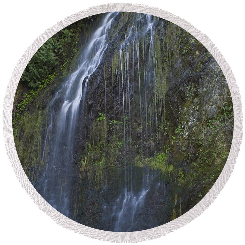 Waterfalls Round Beach Towel featuring the photograph Elkview Falls by Rod Wiens