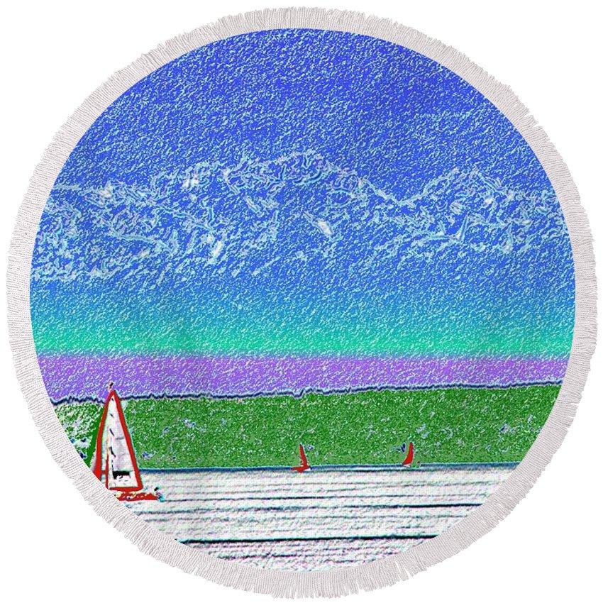 Seattle Round Beach Towel featuring the digital art Elliott Bay Sail by Tim Allen