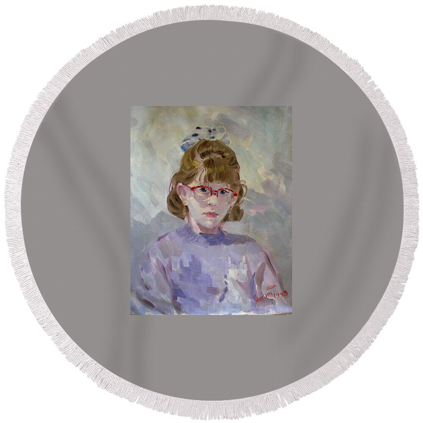 Portrait Round Beach Towel featuring the painting Elona by Ylli Haruni