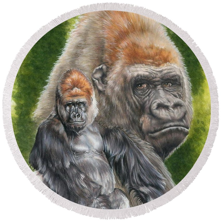 Gorilla Round Beach Towel featuring the mixed media Eloquent by Barbara Keith