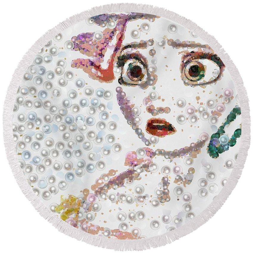 Elsa Art Pearlesqued In Fragments Round Beach Towel featuring the painting Elsa Art Pearlesqued In Fragments by Catherine Lott