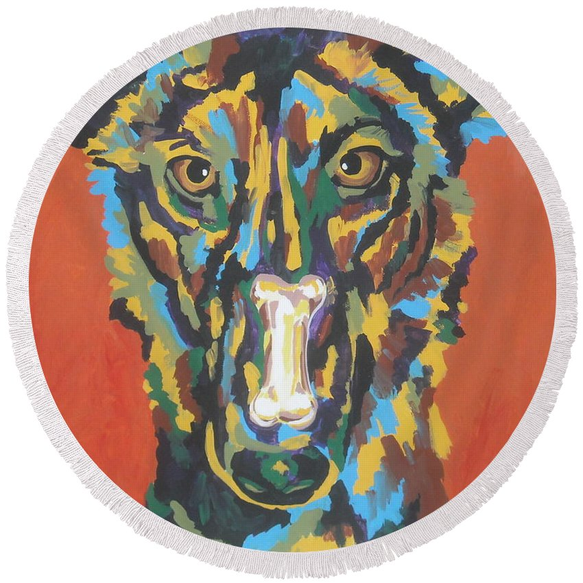 Dog Round Beach Towel featuring the painting Elsa by Caroline Davis