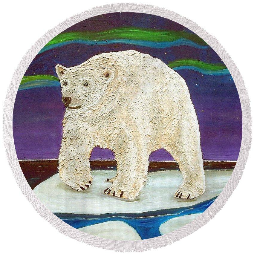 Polar Bear Round Beach Towel featuring the painting Elusive Wonder by Amy Pugh