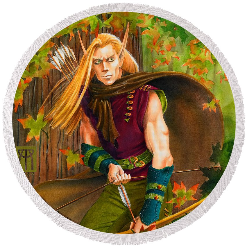Elf Round Beach Towel featuring the painting Elven Hunter by Melissa A Benson