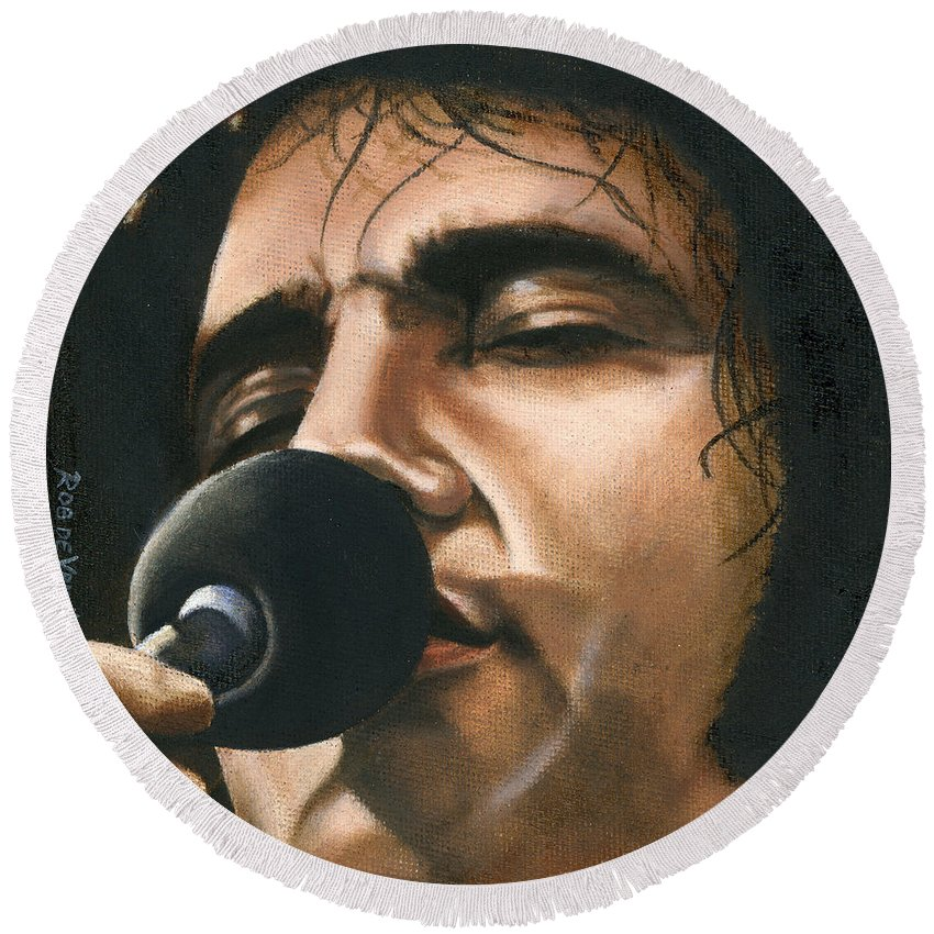Elvis Round Beach Towel featuring the painting Elvis 24 1972 by Rob De Vries