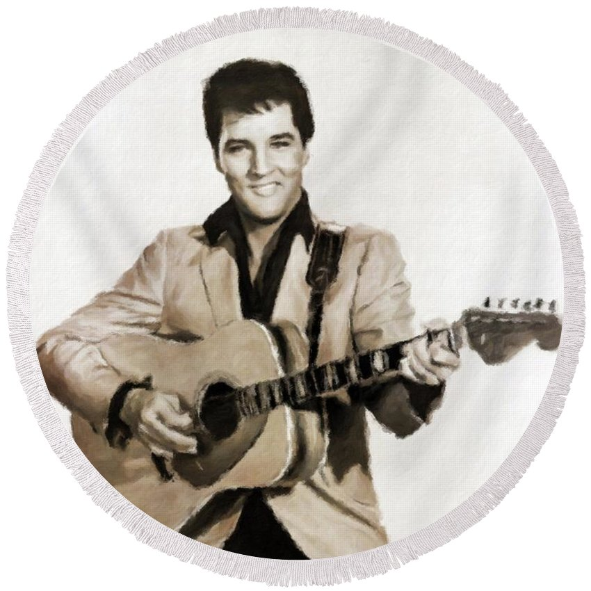 Cinema Round Beach Towel featuring the painting Elvis Presley By Mb by Mary Bassett