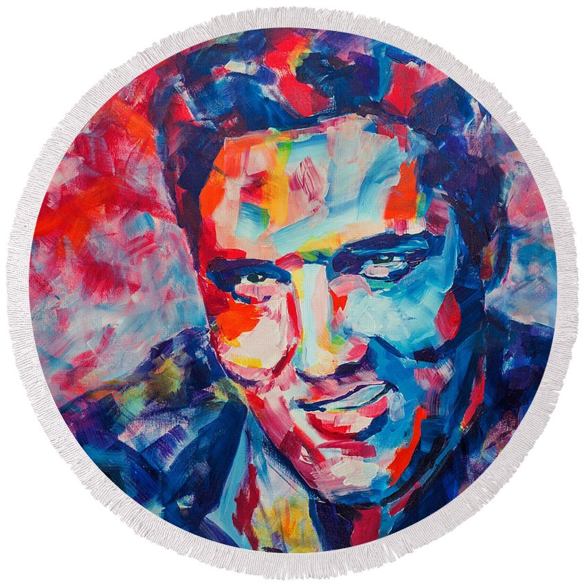 Elvis Round Beach Towel featuring the painting Elvis Presley by Dima Mogilevsky