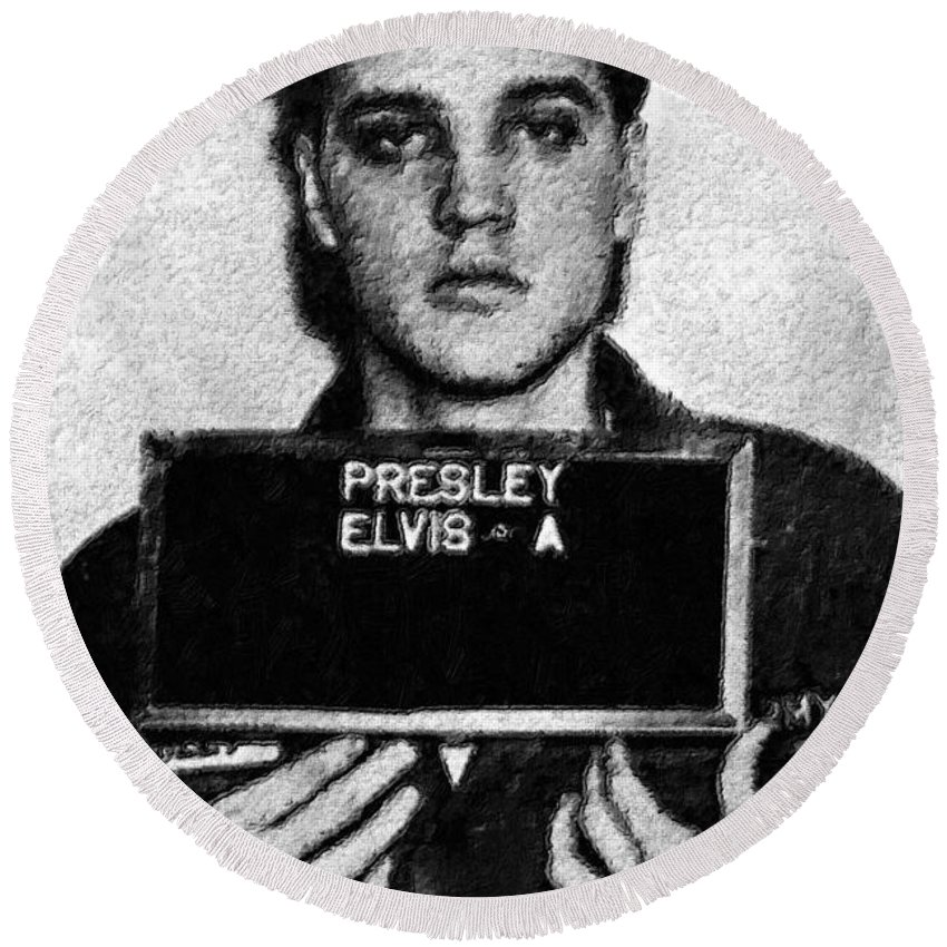 Elvis Presley Round Beach Towel featuring the painting Elvis Presley Mug Shot Acrylic by Tony Rubino
