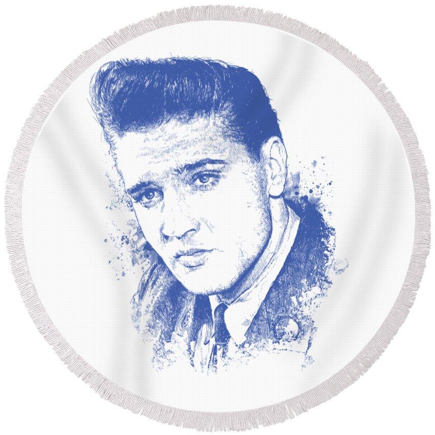 Music Rock Elvis Presley Round Beach Towels