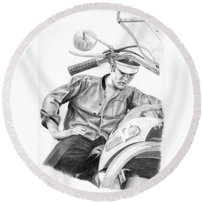 Singer Round Beach Towel featuring the drawing Elvis Presley by Rob De Vries