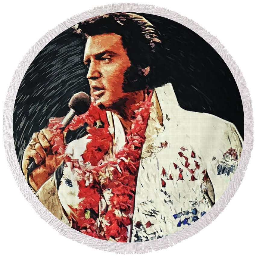Elvis Presley Round Beach Towel featuring the digital art Elvis Presley by Zapista OU