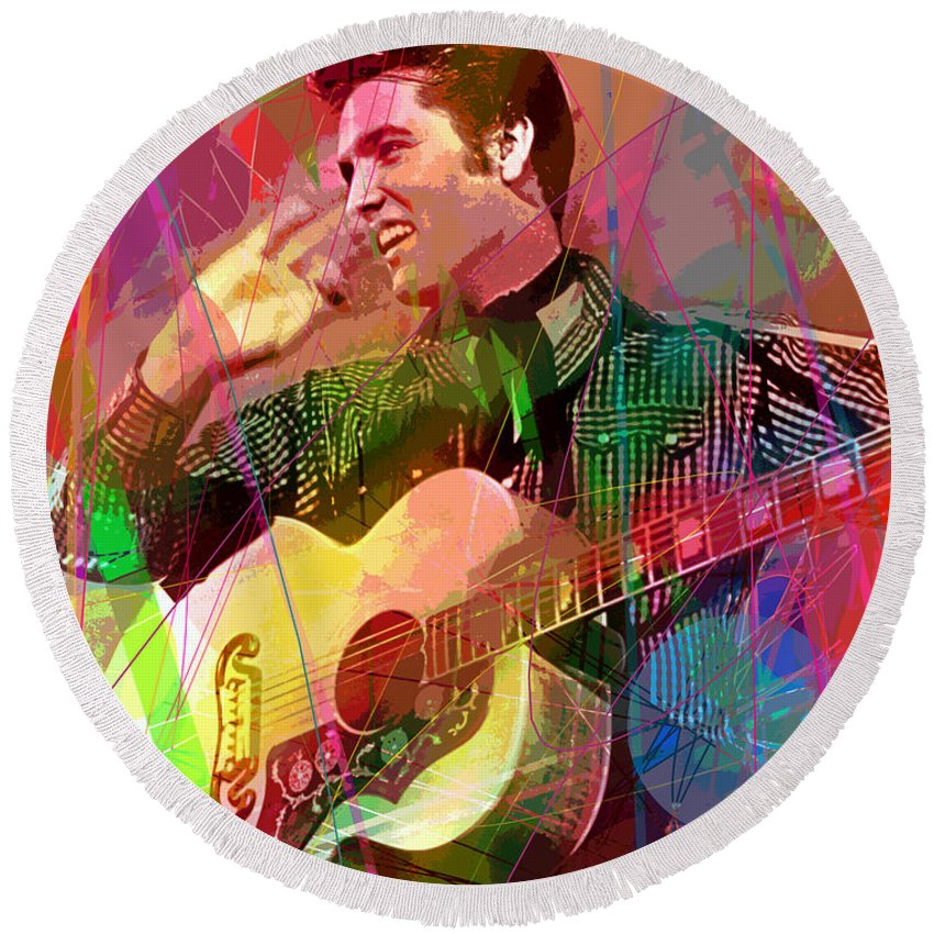 Elvis Round Beach Towel featuring the painting Elvis Rockabilly by David Lloyd Glover