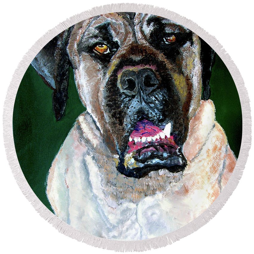 Dog Portrait Round Beach Towel featuring the painting Ely by Stan Hamilton