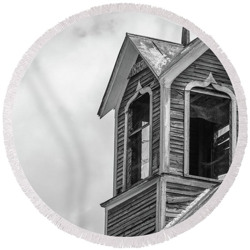 Ely Round Beach Towel featuring the photograph Ely Vermont Barn 1899 Barn Cupola by Edward Fielding