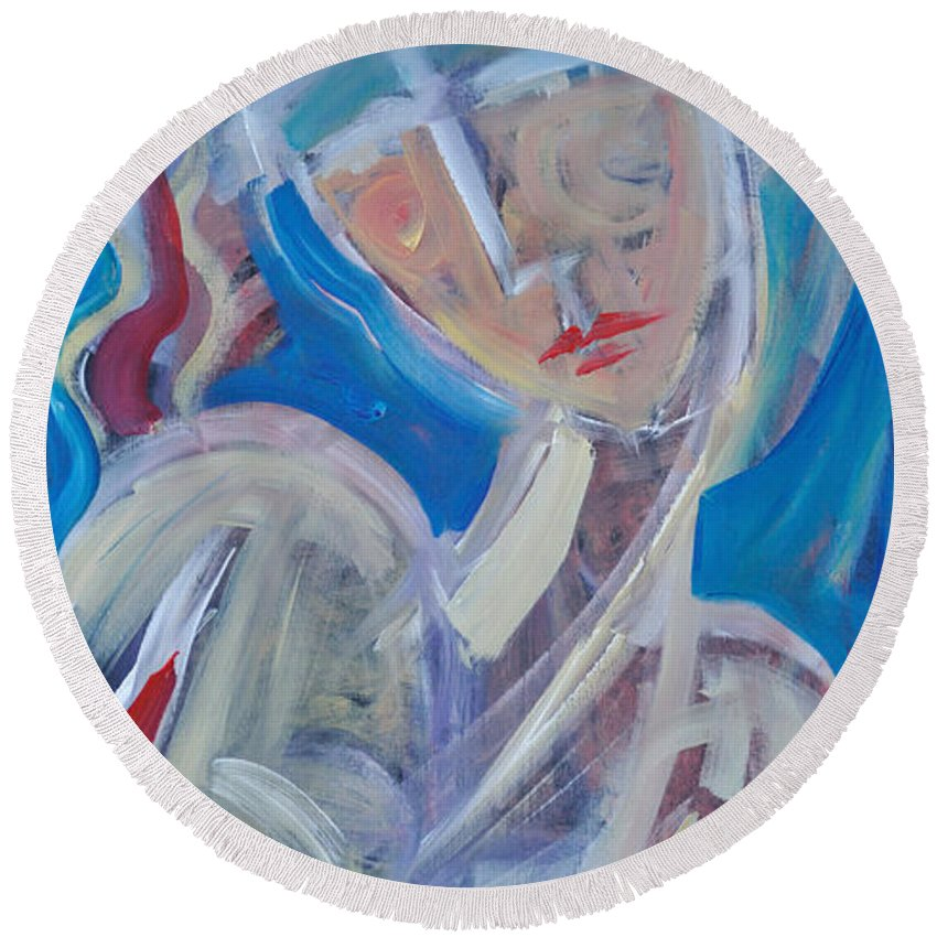 Woman Round Beach Towel featuring the painting Embrace Me by Tim Nyberg