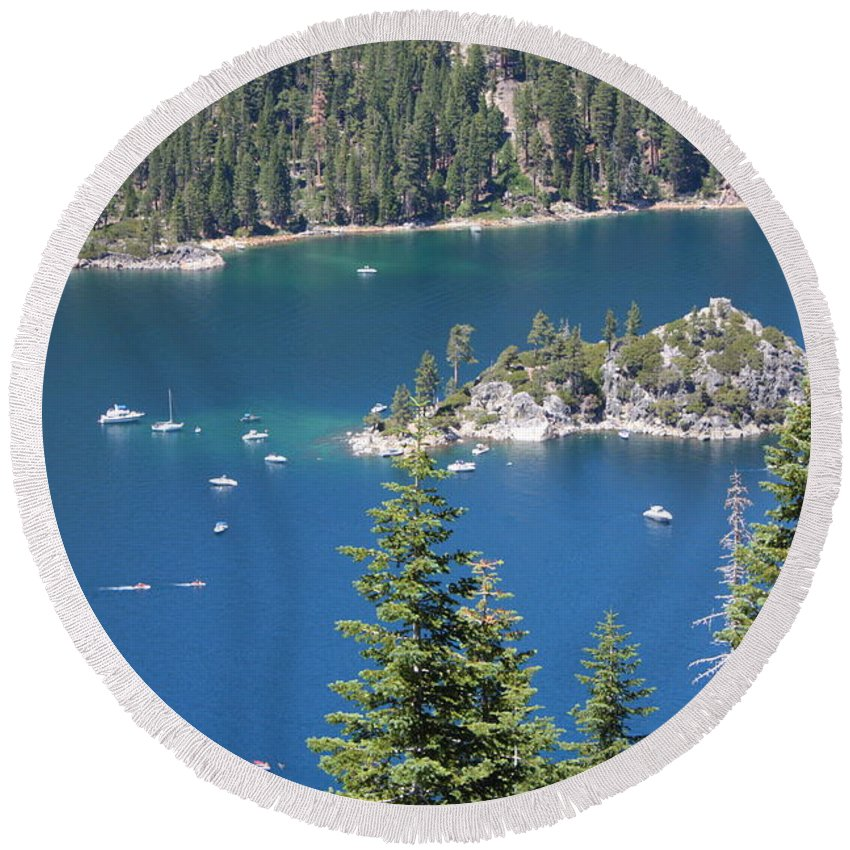 Emerald Bay Round Beach Towel featuring the photograph Emerald Bay by Carol Groenen