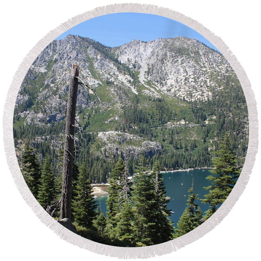 Landscape Round Beach Towel featuring the photograph Emerald Bay With Mountain by Carol Groenen