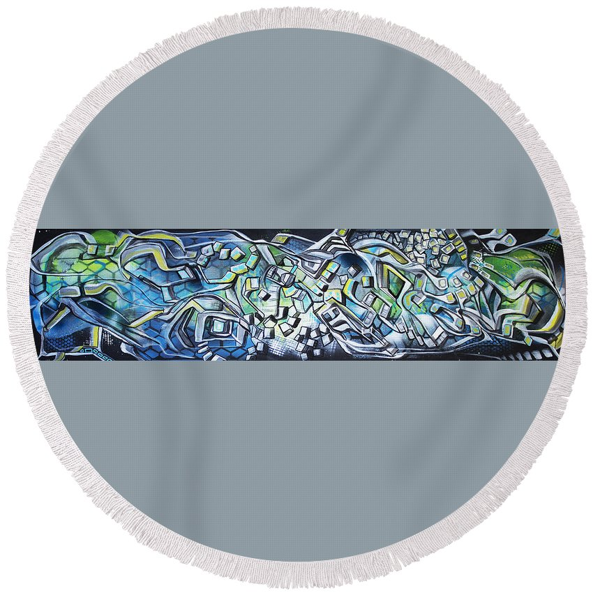 Abstract Round Beach Towel featuring the painting Emerald Chasms by Larry Calabrese