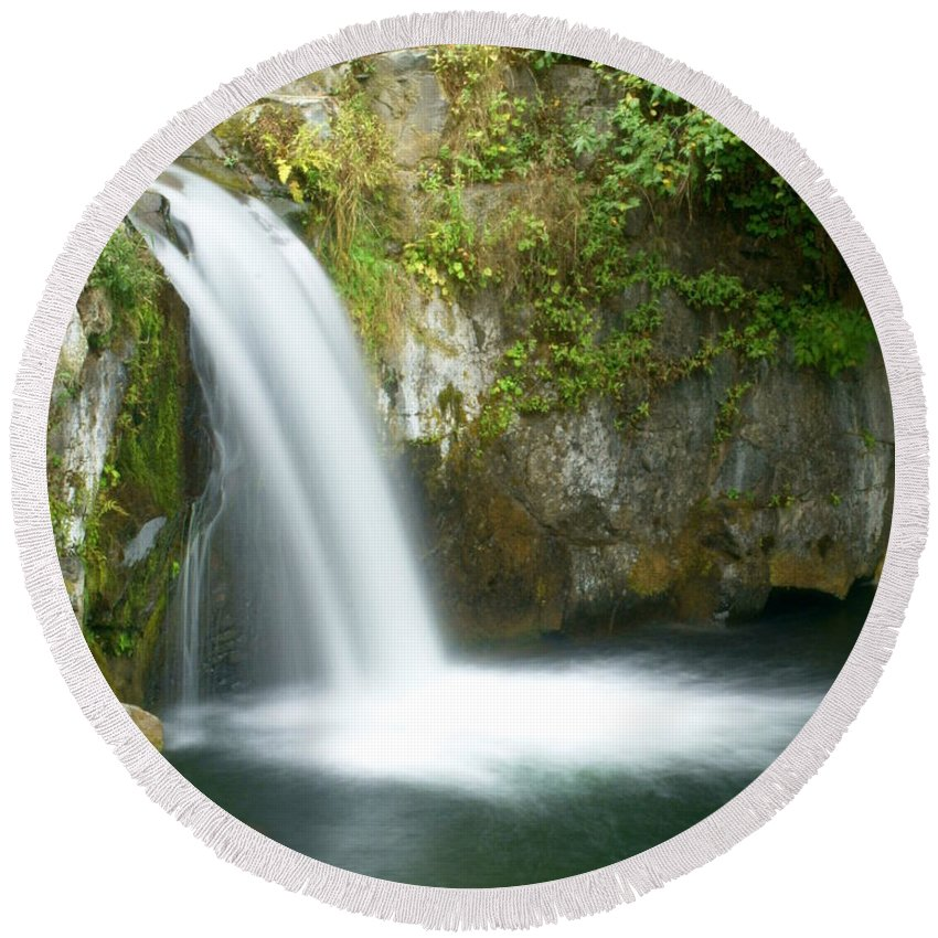 Waterfall Round Beach Towel featuring the photograph Emerald Falls by Marty Koch