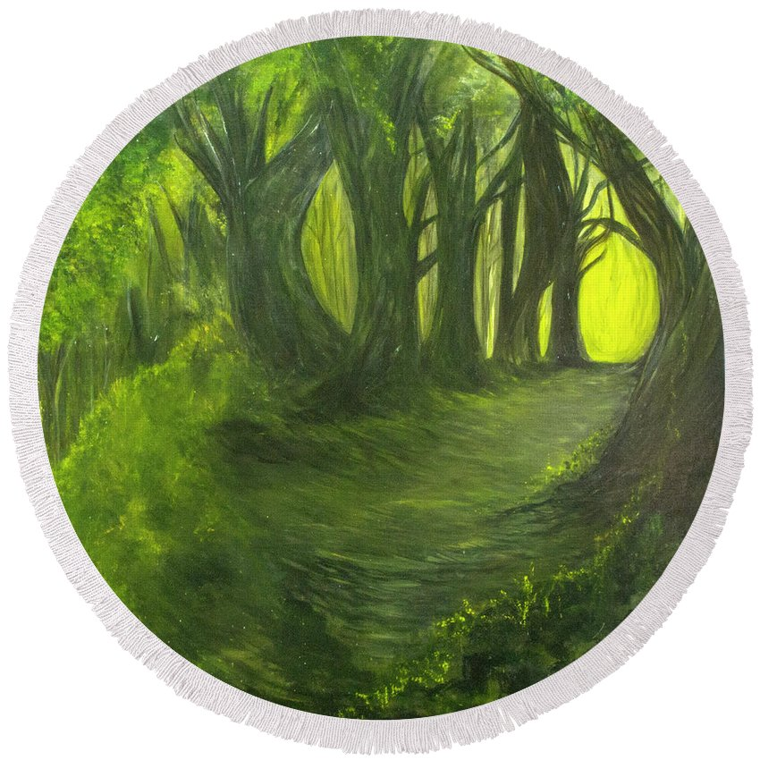 Forest Round Beach Towel featuring the painting Emerald Forest by Lovie Price