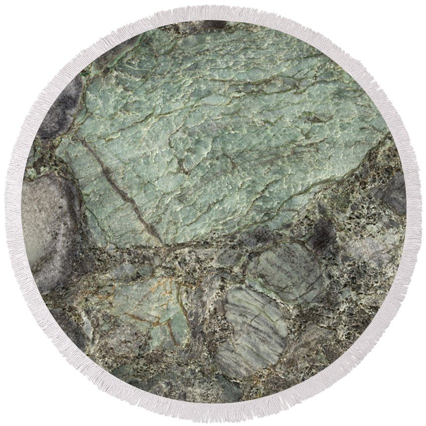 Granite Round Beach Towel featuring the photograph Emerald Green by Anthony Totah
