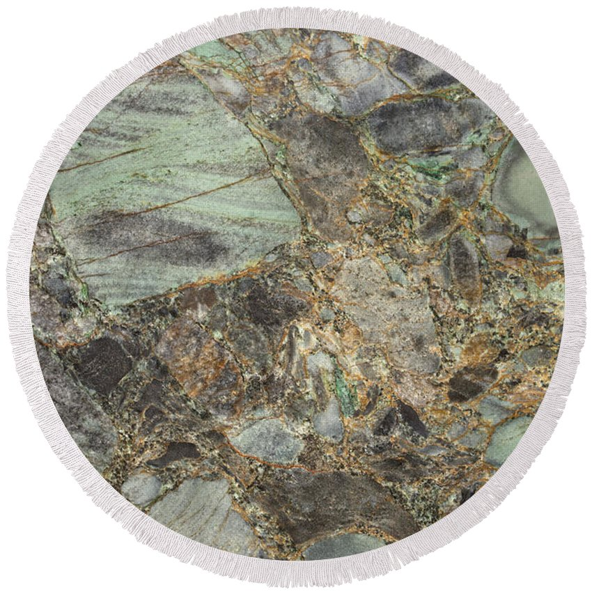 Granite Round Beach Towel featuring the photograph Emerald Green Granite by Anthony Totah