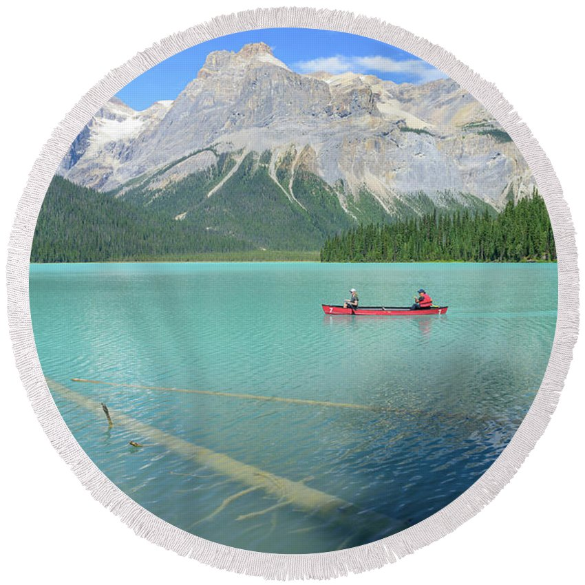North America Round Beach Towel featuring the photograph Emerald Lake by Christian Heeb