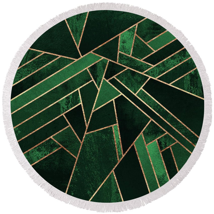 Graphic Round Beach Towel featuring the digital art Emerald Night by Elisabeth Fredriksson